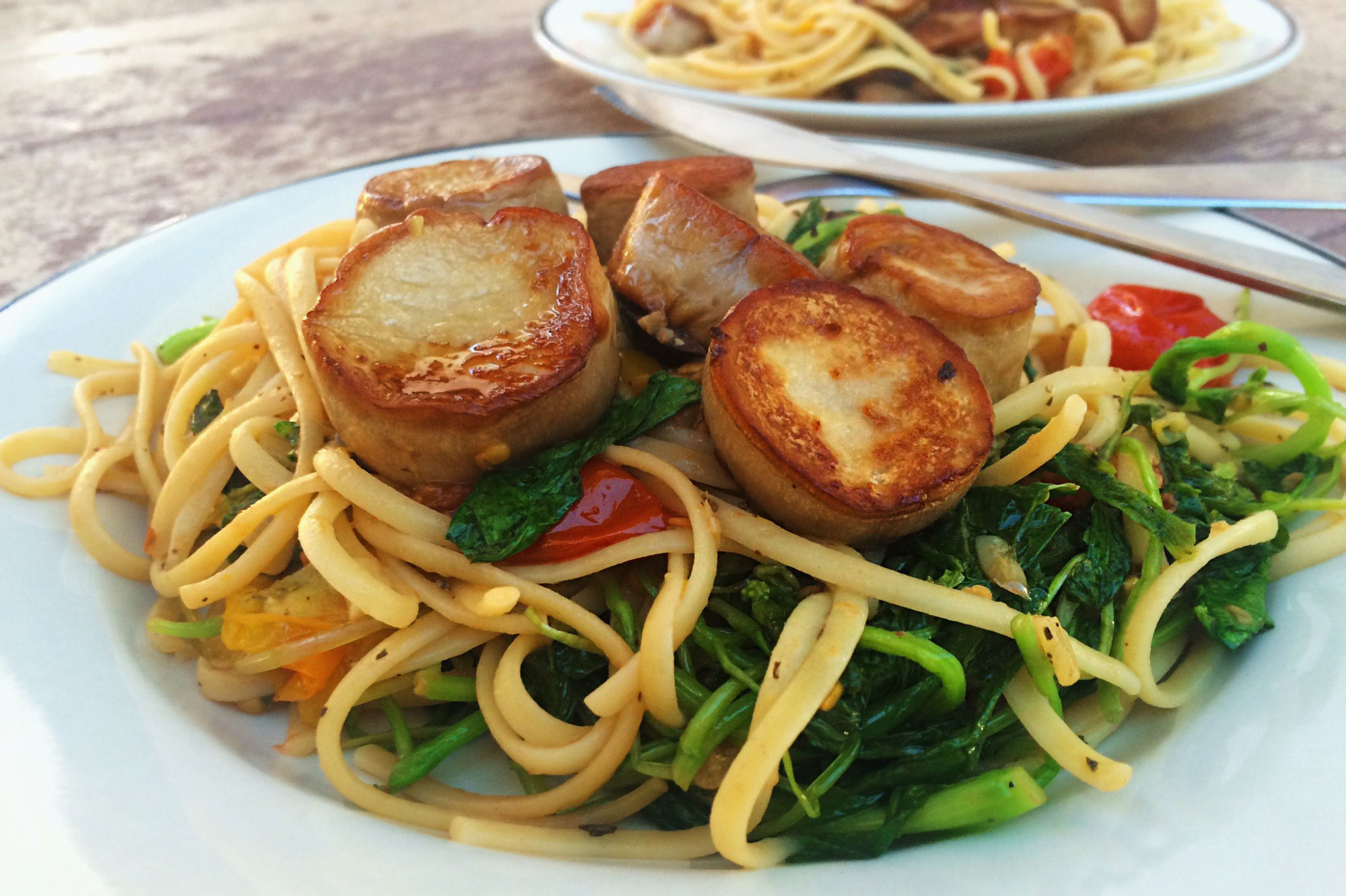 "King Oyster Mushrooms ""Scallops"" with Lemon-Garlic Linguine"