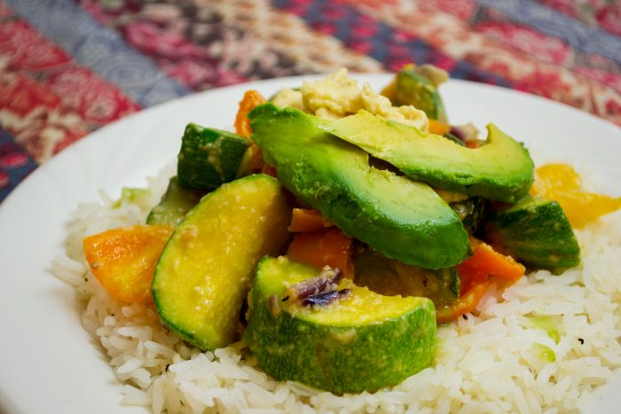 vegan calabacitas with cashew cheese