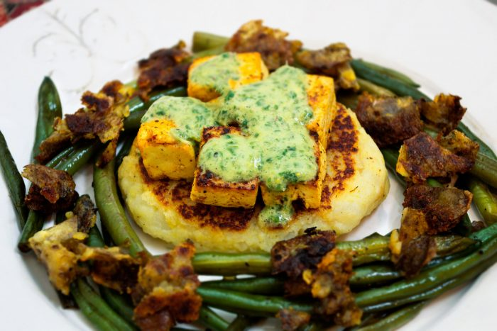 indian spiced tofu potato cakes mint chutney
