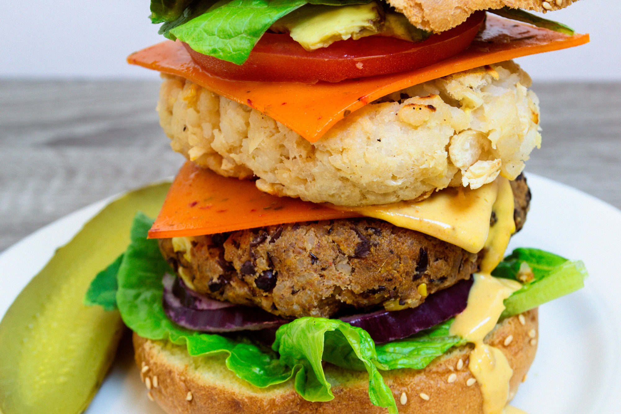 Black and White Bean Double Cheeseburgers