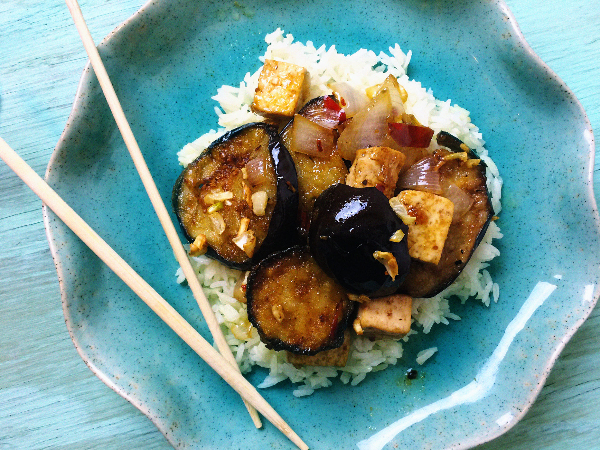 Sweet and Spicy Garlic Eggplant