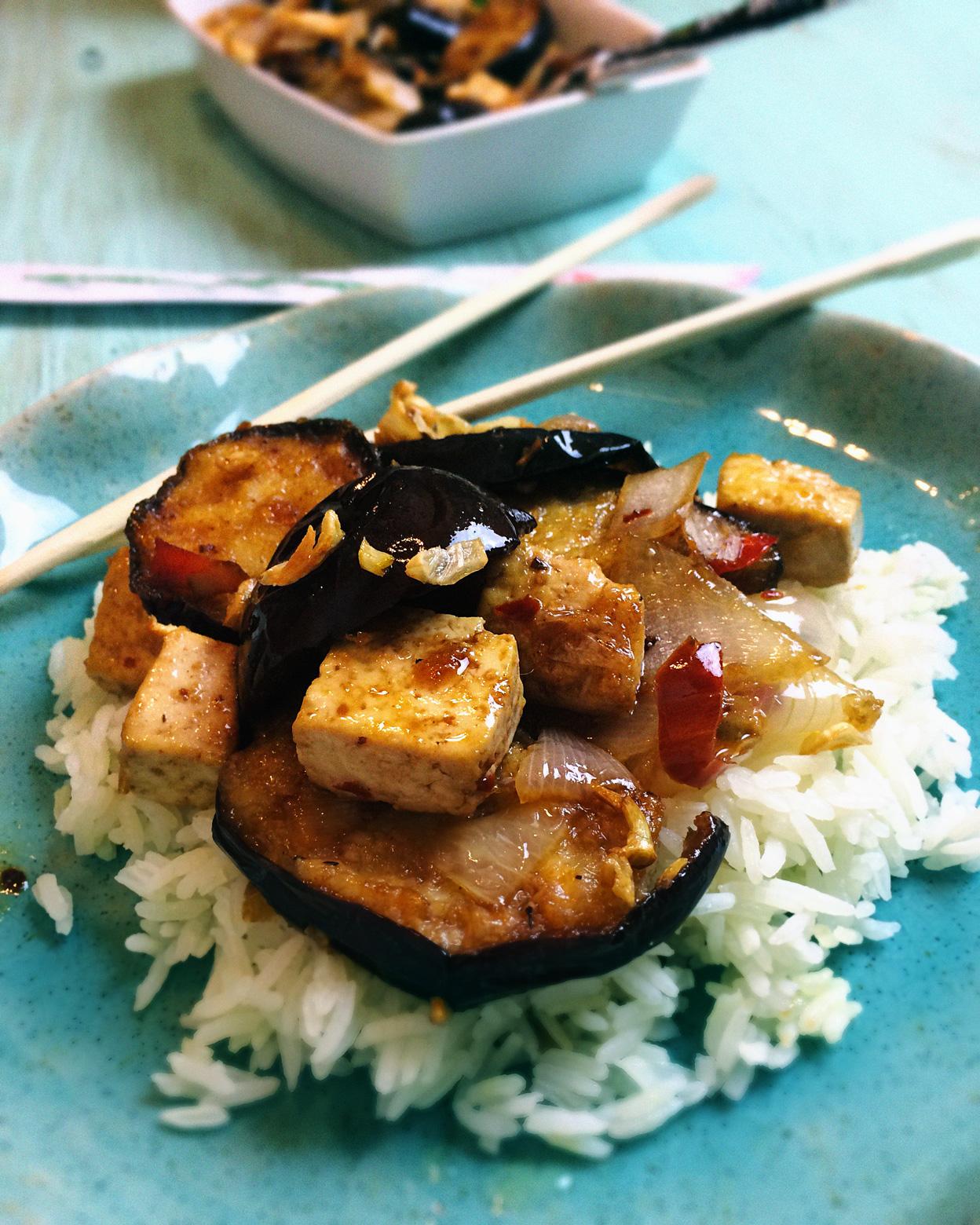 vegan garlic eggplant sweet and spicy