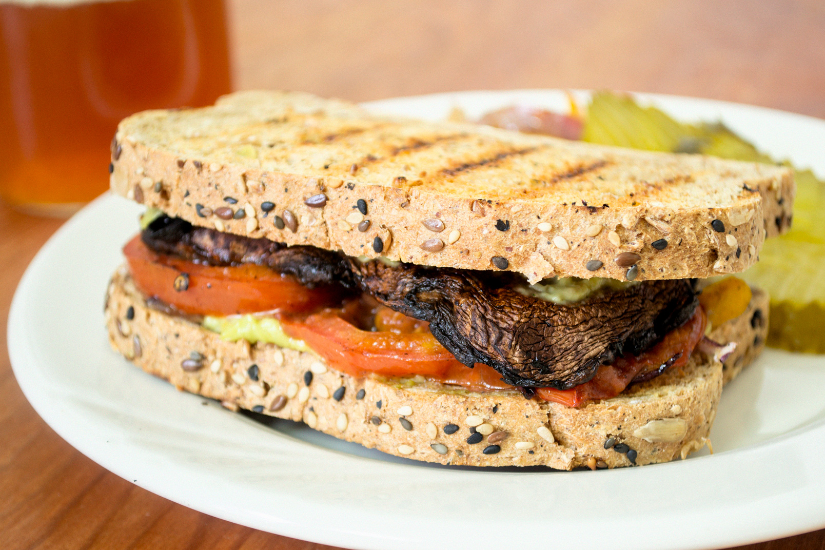 grilled portobello mushroom sandwich avocado aioli vegan