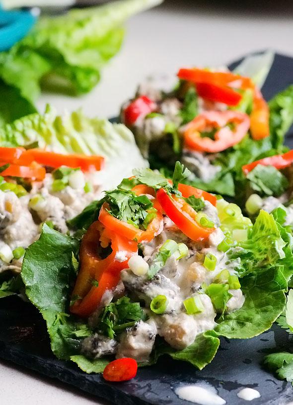 Mushroom and Chickpea Lettuce Wraps