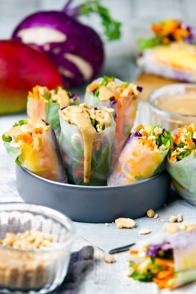 Raw rice paper wraps and satay sauce