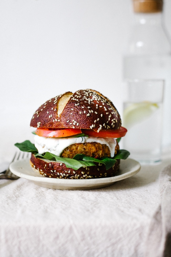 CAJUN CHICKPEA + CAULIFLOWER BURGER