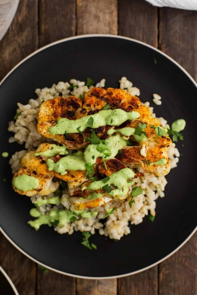 Cajun Cauliflower with Cilantro-Avocado Sauce