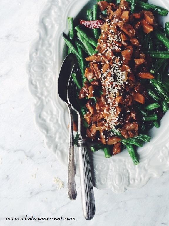 "Pine Mushroom ""Minced Pork"" and Beans"