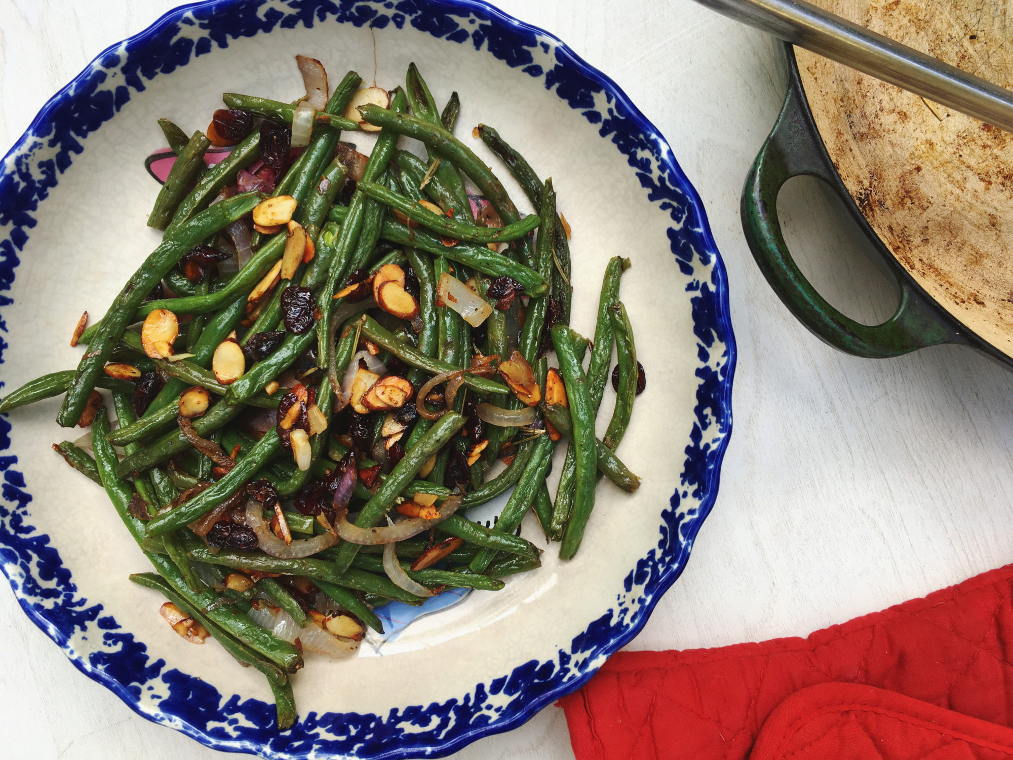 roasted green beans cranberries almonds recipe