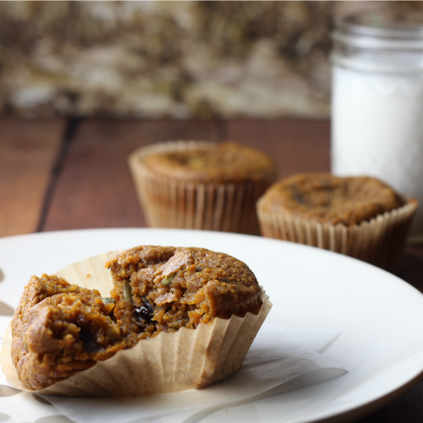Healthy Pumpkin Muffins with Pepitas and Dried Cherries