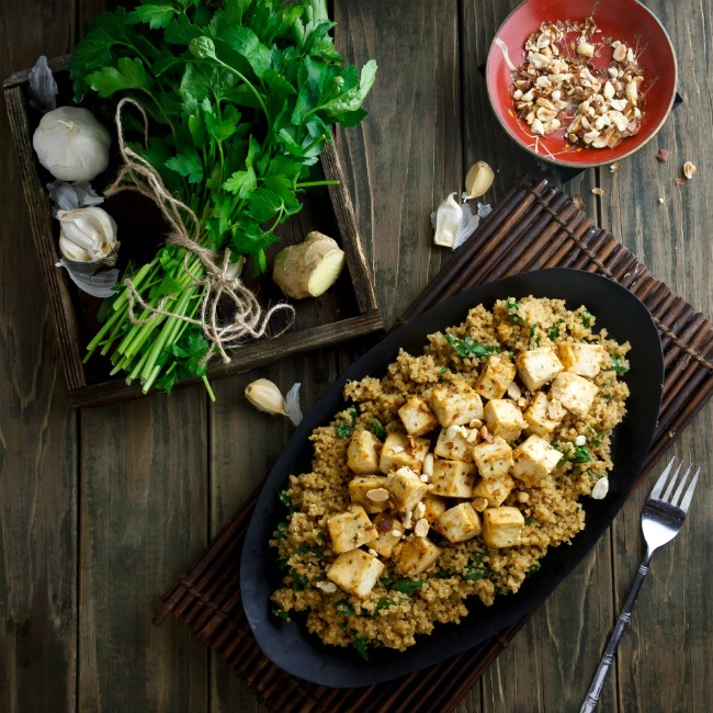 QUINOA AND TOFU SATAY