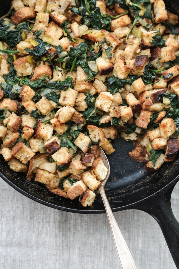 "Gluten-Free Stuffing with ""Creamed Spinach"" and Leeks"