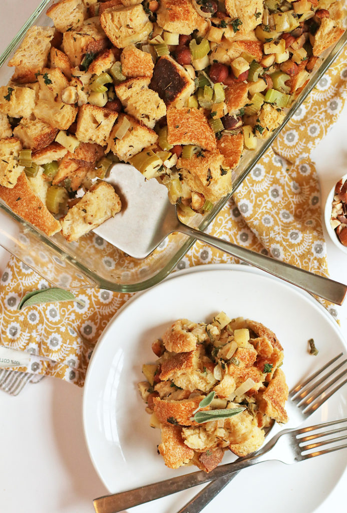 Vegan Thanksgiving Stuffing with Apples and Hazelnuts