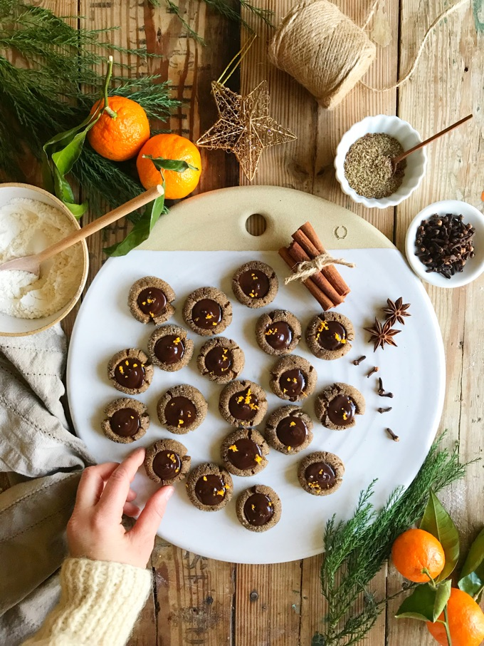 GINGERBREAD THUMBPRINT COOKIES WITH CHOCOLATE ORANGE GANACHE