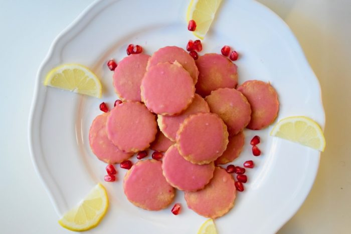 Lemon Pomegranate Shortbread Cookies