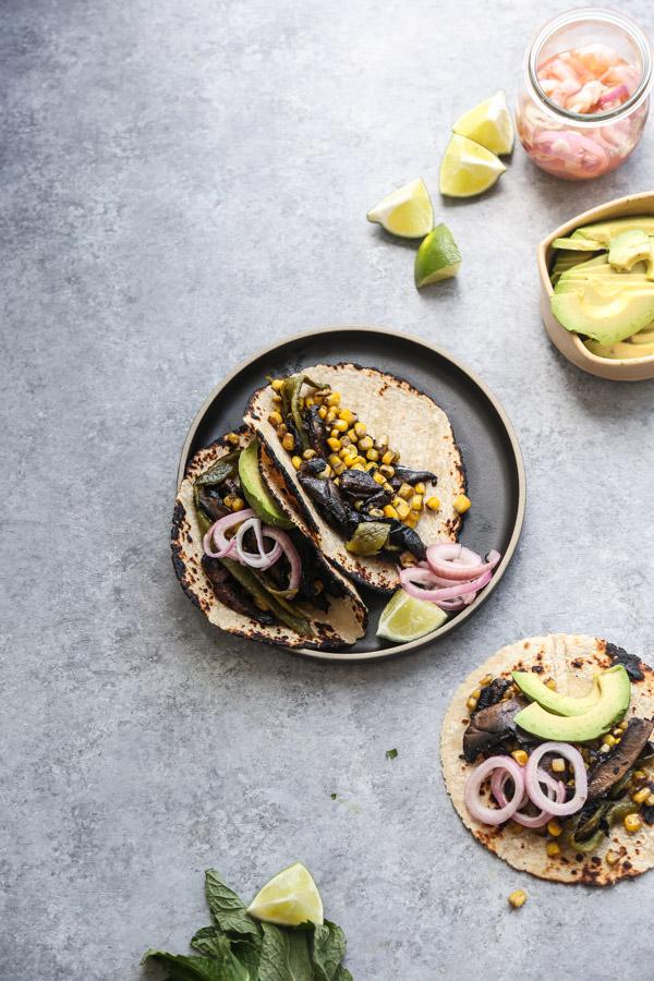 Portobello Mushroom Tacos with Charred Corn and Poblanos