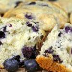 cut-open vegan blueberry muffin