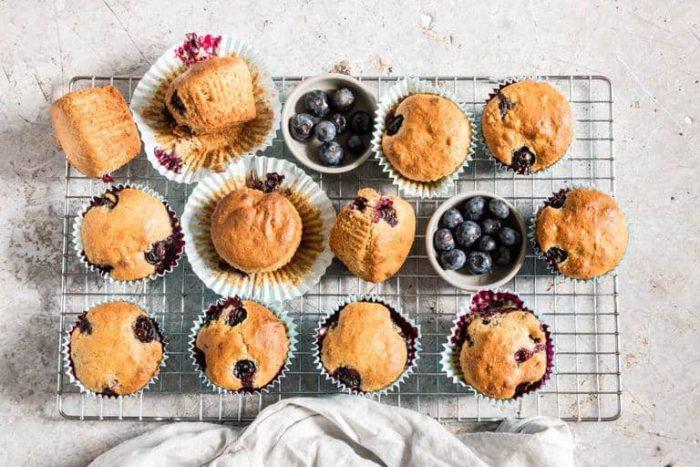 freshly baked vegan blueberry muffins