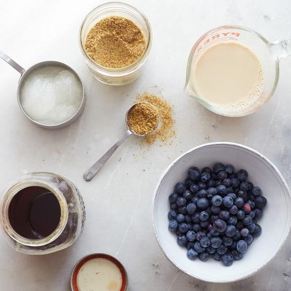 ingredients to make vegan blueberry muffins