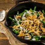 a casserole of Vegan Green Bean Casserole