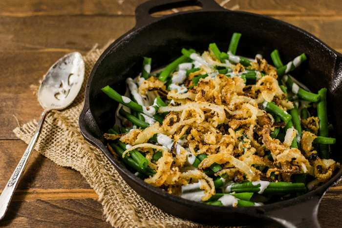 a casserole of Vegan Green Bean Casserole