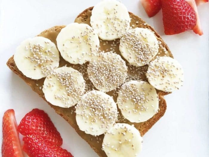 Sun Butter, Banana, and Chia Seeds Toast