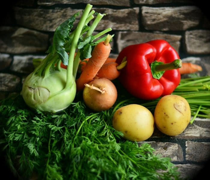 fresh raw vegetables used to prepare plant-based and vegan diets