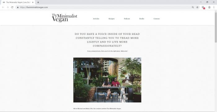 home page of theminimalistvegan.com