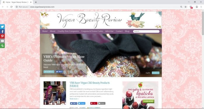 home page of veganbeautyreview.com