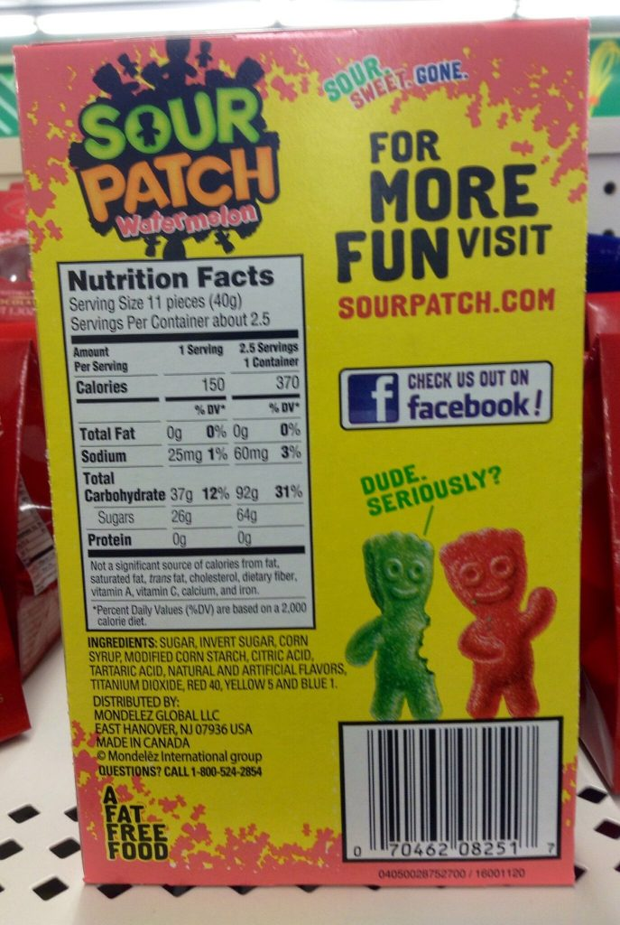 The back of a bag of sour patch kids candy